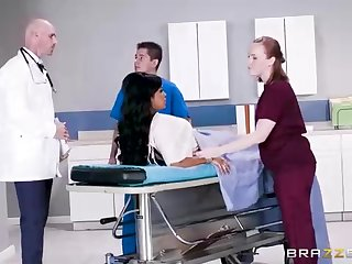 Buxom dark-hued woman with a loved tat, Mary Jean is pretty her doctor's massive man-meat, in his office