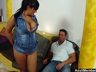 Be in charge Jasmine Black's big boobs bounce as she is taking care of a cock