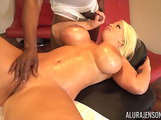 Busty MILF Alura Jenson bends over for a big black bushwa and eats cum