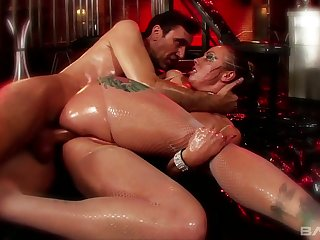 Awfully lubed spitfire with big rack Adrianna Nicole is fucked doggy hard
