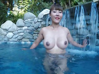 Asian exotic MILF Tiffany spreads say no to pussy close to a pool
