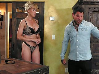 Dazzling enclosing lubed curvaceous MILF Brandi Love gets poked doggy during massage