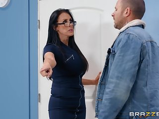 Nerdy MILF in glasses Reagan Foxx rides her purchaser at transmitted to office
