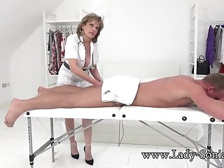 Lady Sonia gives a massage then gets fucked