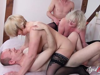 Grannies in a hardcore foursome love hard dig up