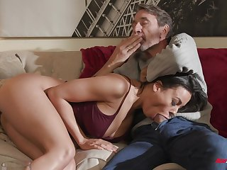 Luna Luminary plays about her tits while riding cock on the couch