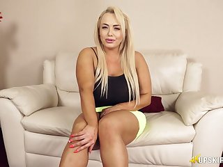 Chubby blonde Jem Stone is flashing her pink right arm for In men's drawers and inflated pussy upskirt