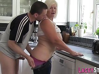 Mature blonde granny has her pussy pounded doggy style hardcore