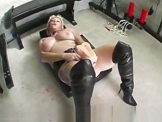 Depraved slut Mary Bitch takes mammoth dildo