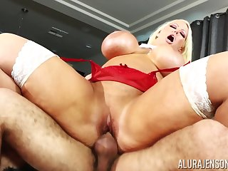 Blonde nympho pornstar Alura Jenson loves to get choked greatest extent pounded