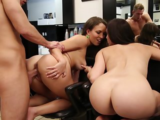 sexy babes Lily Carry the and Holly Michaels share long cock and balls