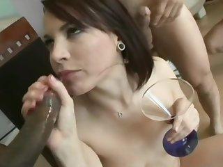 Cum hungry Dana Dearmond swallows 8 loads of cum