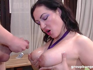 Bombshell pamper with makeup has her light cum covered in a gangbang