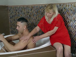 Blond slanderous granny Irene has an adventure with young good-looking neighbor