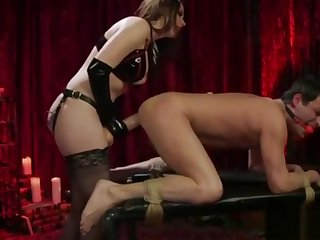 Sissy impoverish gets pegged wide of hot milf in sexy underclothing