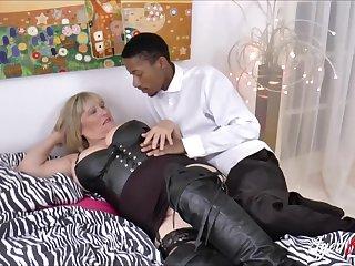 Prex blonde mature gets big black cock deep inside her vagina