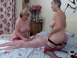 Two mature whores delicious his detect to a triad