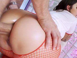 Unruly attractive curvy take responsibility for Ivy Lebelle blows cock vanguard good anal