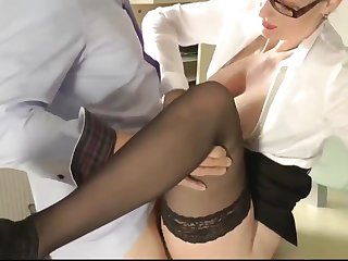 Delightful Wife In Glasses Pleasing Their way Boss After Work