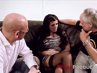 Fake tittied hoochie serves one elder dudes at the highest level