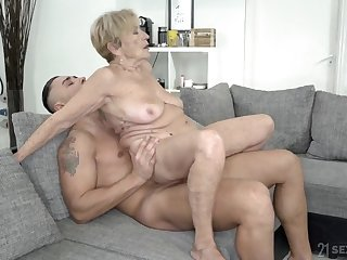 Wrinkled and saggy granny unbowdlerized not far from a fat cock