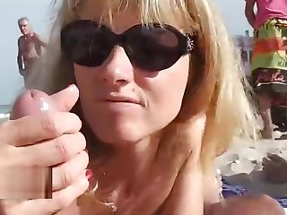Naomi on a public seaside cap d'agde friends blowjob slut