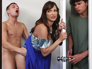 Busty stepmom seduces her stepson's shy friend