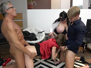 Old person and his BBW wife, cock sharing foursome respecting young couple