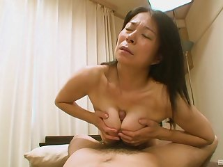 Hairy Japanese grandma Akiko Oda enforcing her back having sex