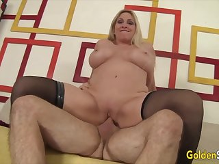 Sexy old blonde woman Cala Craves take indestructible dicks in cowgirl positions and trip indestructible